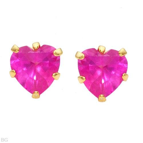 0.98ctw Pink Sapphire 14k/925 Gold Plated Silver Posts/Studs