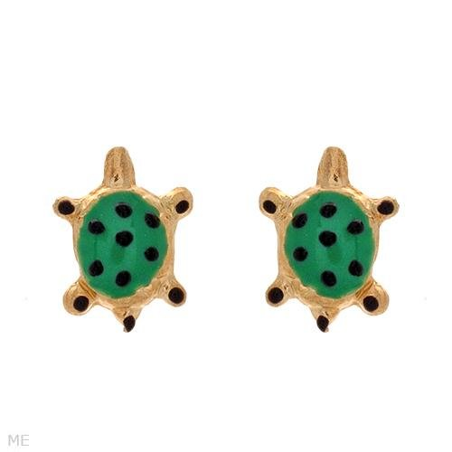 Child's 10k Gold Enamel TURTLE Earrings Stud/Post FROG Box