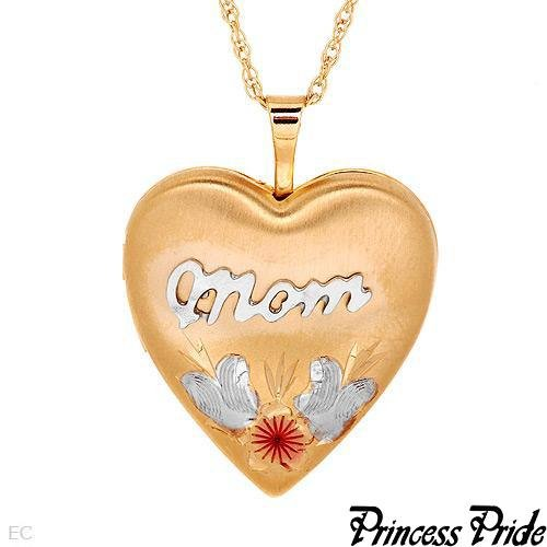 PRINCESS PRIDE MOM Engraved Locket/Pendant 20in Chain Gold Plated