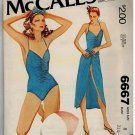 McCall's 6667 70s *UNCUT Bathing Suit & Sarong Wrap Vintage Sewing Pattern