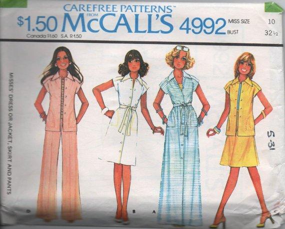 McCall's 4992 70s UNCUT Dress Jacket Skirt Pants Vintage Sewing Pattern