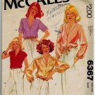 McCall's 6367 70s Shawl and Notch Collar BLOUSES Vintage Sewing Pattern