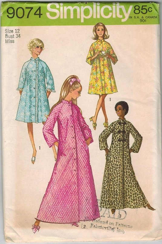 Simplicity 9074 70s *UNCUT Classic Women's ROBES frog closings Vintage Sewing Pattern