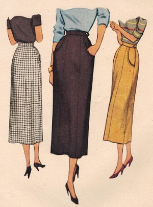 McCall 7897 40s Long Slim  4-panel SKIRT Vintage Sewing Pattern