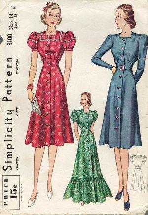 Simplicity 3100 1930s Ladies DRESS or HOUSECOAT Vintage Sewing Pattern *Uncut