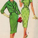 Simplicity 3084 50s Wiggle SHEATH DRESS & JACKET Bateau Neck Vintage Sewing Pattern
