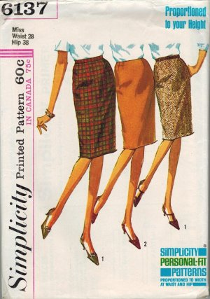 Simplicity 6137 60s Mad Men Pan Am Slim SKIRT Vintage Sewing Pattern