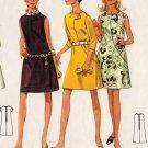 Butterick 4818 60s Womens' Mod DRESS Asymmetrical Button Detail Vintage Sewing Pattern