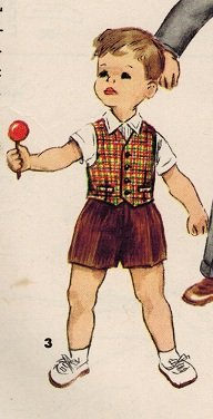 Simplicity 1019 50s Little Boy's JACKET, VEST & PANTS in 2 Lengths Vintage Sewing Pattern