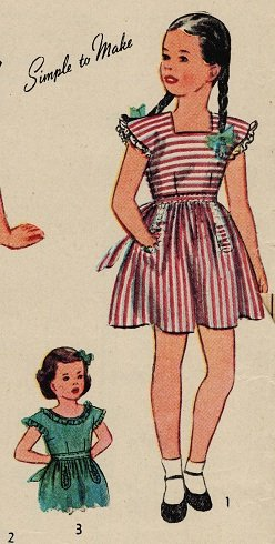 Simplicity 1211 40s Girl's PINAFORE & BLOUSE Vintage Sewing Pattern