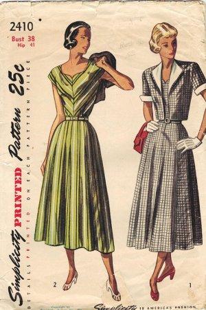 Simplicity 2410 Fab 40s DRESS & Bolero Vintage Sewing Pattern *UNCUT*