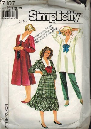 Simplicity 7107 80s MATERNITY DRESS,TOP & Pull-on PANTS Sewing Pattern