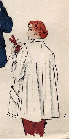 Butterick 5625 50s Flared TOPPER COAT - Rolled Collar - Huge Pockets Vintage Sewing Pattern