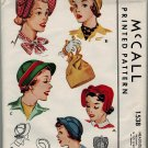 McCall 1538 1950s Ladies HATs & BAG Vintage Sewing Pattern