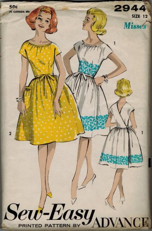 Advance 2944 UNCUT early 1960s Back Wrap DRESS Vintage Sewing Patterns