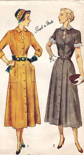 Simplicity 3067 40s Half Size DRESS with Scalloped collar, neck and cuffs Vintage Sewing Pattern