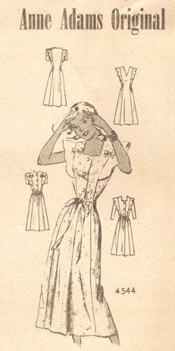 "Anne Adams 4544 40s ""Pretty & Gay"" Mail Order Summer DRESS Vintage Sewing Pattern"