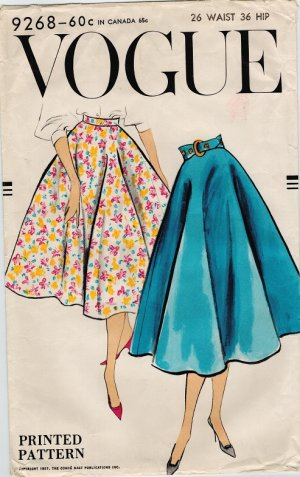Vogue 9268 50s Bias Circle Skirt Wounded Bird Vintage Sewing Pattern