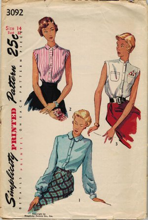 "Simplicity 3092 40s ""Let Me Unbutton Your Shirt"" SHIRT Vintage Sewing Pattern"