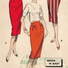 Butterick 8683 50s UNCUT Back Vent Slim SKIRT Vintage Sewing Pattern