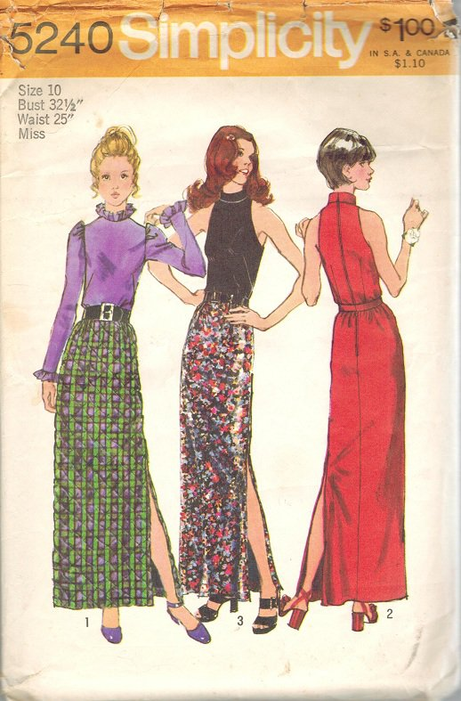 Simplicity 5240 70s Long Slit SKIRT & BLOUSE Vintage Sewing Pattern