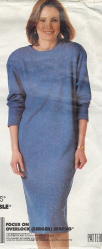 McCall's 3292 80s UNCUT Pullover DRESS for Stretch Knits Vintage Sewing Pattern
