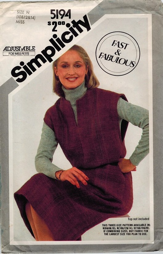 Simplicity 5194 80s Fast and Fabulous Pullover JUMPER Vintage Sewing Pattern