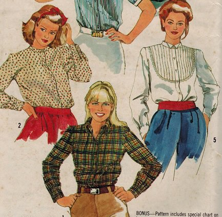 Simplicity 5663 80s Set of SHIRTS Wing Tip Collar Vintage Sewing Pattern