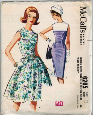 McCall's 6265 60s *Wounded Bird* Sexy or Not DRESS with Slim or Full Skirt Vintage Sewing Pattern