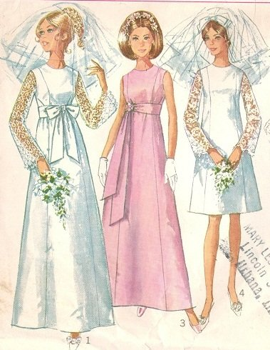 Simplicity 7479 60s WEDDING GOWN & Bridesmaid Gowns Vintage Sewing ...
