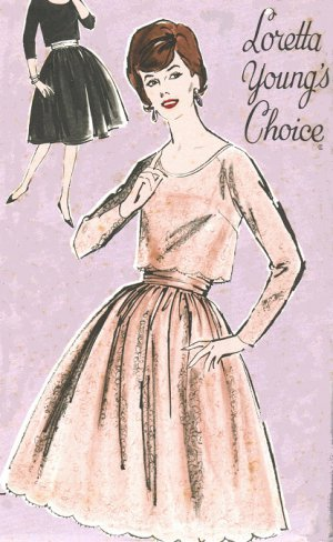 """Advance 9975 60s *UNCUT """"Loretta Youngs Choice"""" Classic Two Piece DRESS Vintage Sewing Pattern"""