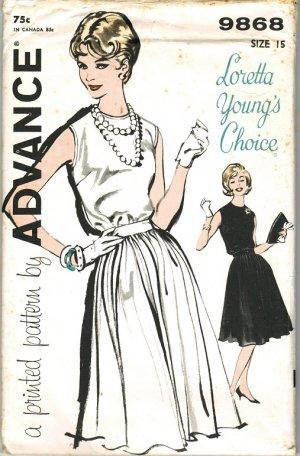 "Advance 9868 60s *UNCUT ""Loretta Young's Choice"" Lovely Jewel Neck DRESS Vintage Sewing Pattern"