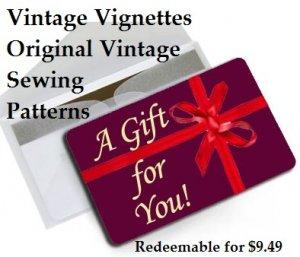 Vintage Vignettes Gift Card for Original Sewing Patterns