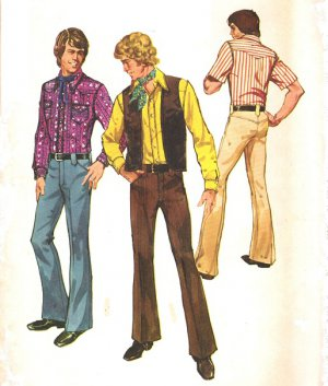Simplicity 5048 70s Men 39 S Shirt Vest Pants Western Style Retro Vintage Sewing Pattern