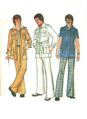 Simplicity 6887 Vintage 70s Men's Unlined JACKET & PANTS Sewing Pattern *Mixed Pattern J44/P38