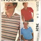 McCall's 7431 80s Men's Pullover Knit TOPS Vintage Sewing Pattern