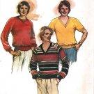 Butterick 3431 Men's Pullover Ribbed Knit TOPS , V or Crew Neckline Vintage Sewing Pattern
