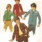 Simplicity 6641 Vintage 70s Boys Unlined SHIRT JACKET Sewing Pattern