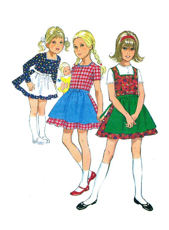 simplicity 9202 70s girls dirndl dress amp apron vintage