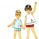 Simplicity 5519 Toddler 60s TOP & SHORTS, Bloomers Sewing Pattern & Nautical Sailboat Emb. Transfer