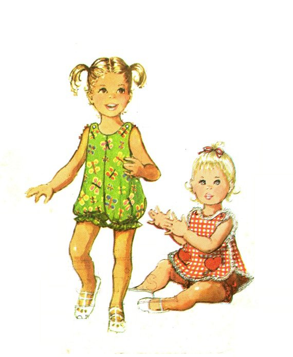 Simplicity 9395 70s UNCUT Toddlers Bubble Suit & Pinafore Heart Pockets Vintage Sewing Pattern