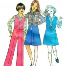 Simplicity 7909 Vintage 70s Girls Reversible Vest & Skirt, Pants & Shirt Sewing Pattern