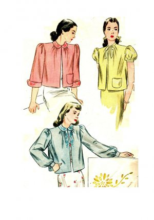 Simplicity 1784 Vintage 40s Gorgeous Set of BED JACKETS WWII era Sewing Pattern