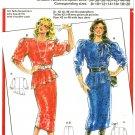 Burda 6205 Vintage 80s Asymmetrical Peplum BLOUSE and Slim SKIRT Suit Dress Sewing Pattern