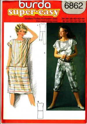 Burda 6862 Vintage 80s Cute Sheath Sun DRESS and Summer JUMPSUIT Sewing Pattern