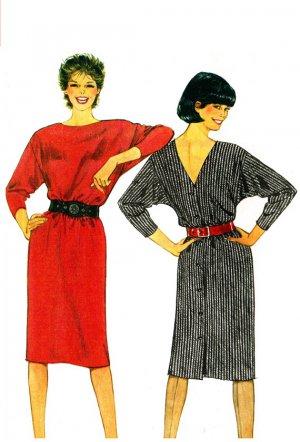Burda 7118 Vintage 80s Low Back V Neck Pullover DRESSES Sewing Pattern