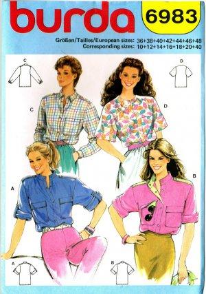 Burda 6983 Vintage 80s Lovely Set of BLOUSES Sewing Pattern