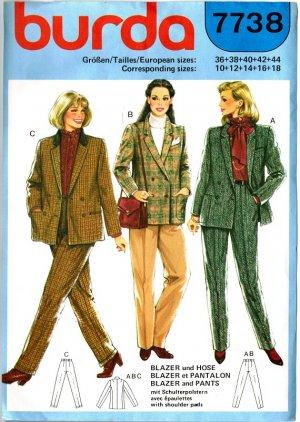 Burda 7738 Vintage 80s Classic BLAZER and PANTS Sewing Pattern