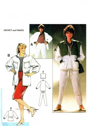 Burda 7391 Vintage 80s Casual JACKETS and PANTS Sewing Pattern