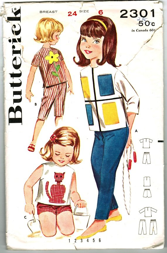 Butterick 2301 Vintage 60s Mondrian Look Girls TOP with Appliques, SHORTS and PANTS Sewing Pattern
